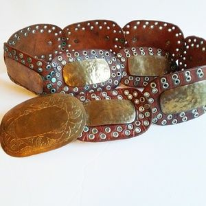 Vintage Made in Morocco Brass and Leather Belt